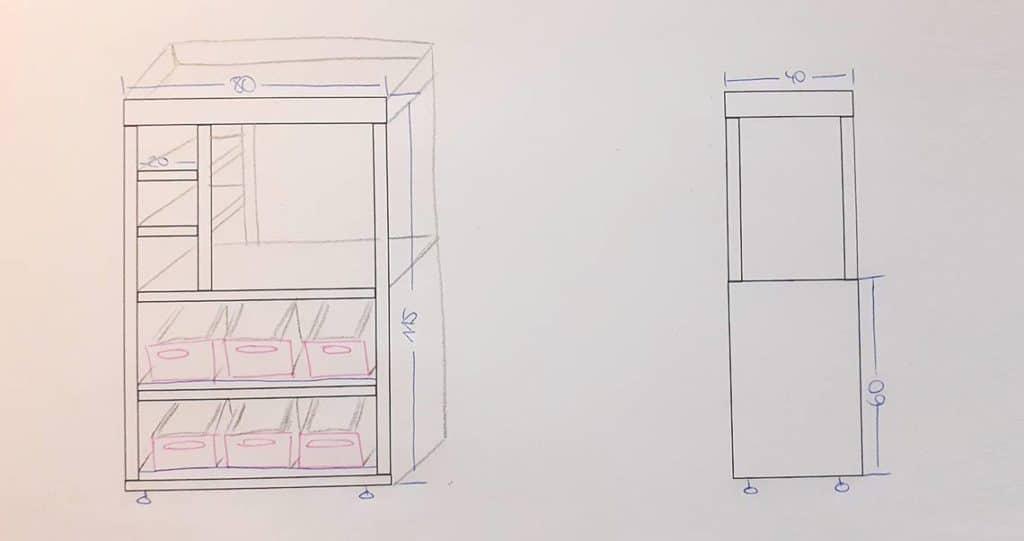 Die Skizze zum DIY Kaufladen / Marktstand