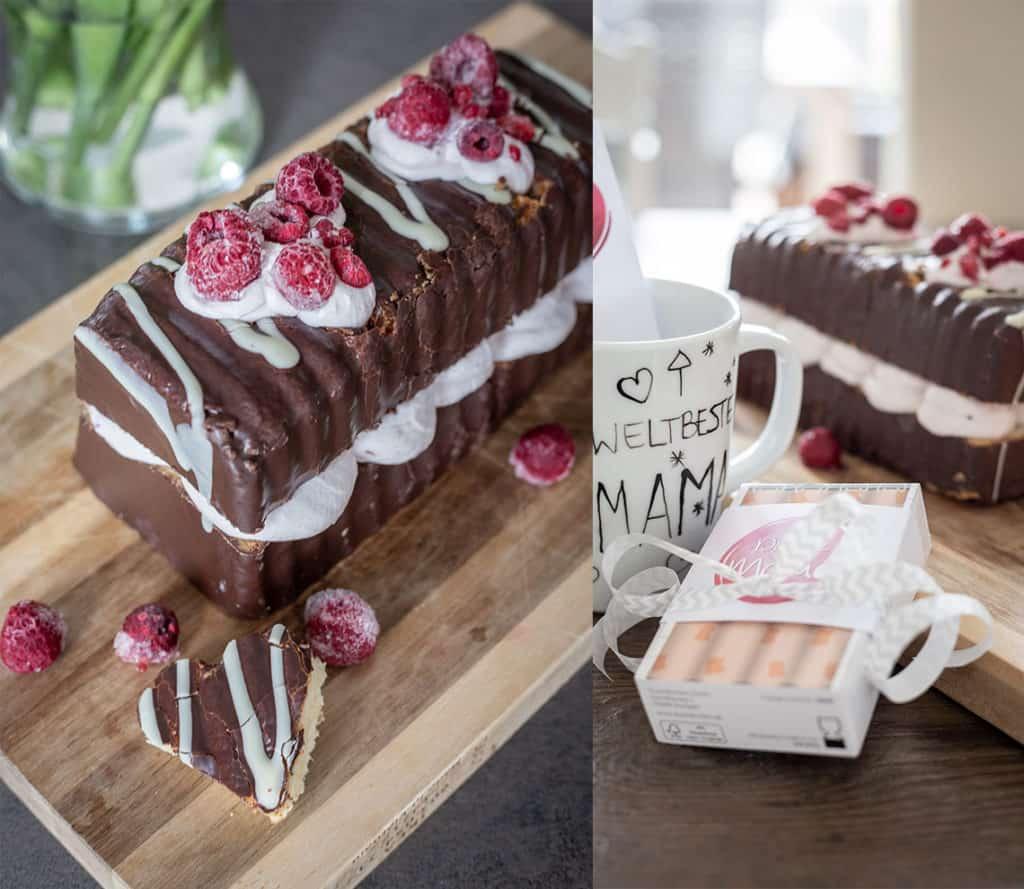 Einfache Himbeercreme-Torte ohne backen zum Muttertag, Valentinstag oder Geburtstag