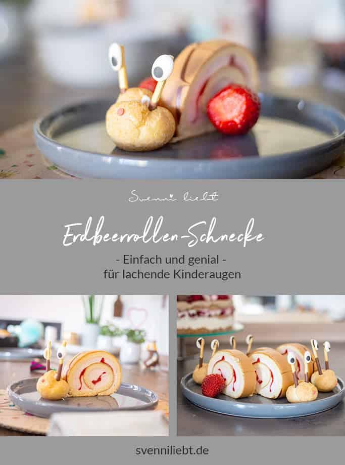Merke dir das Rezept für die Erdbeerrollen-Schnecken auf Pinterest