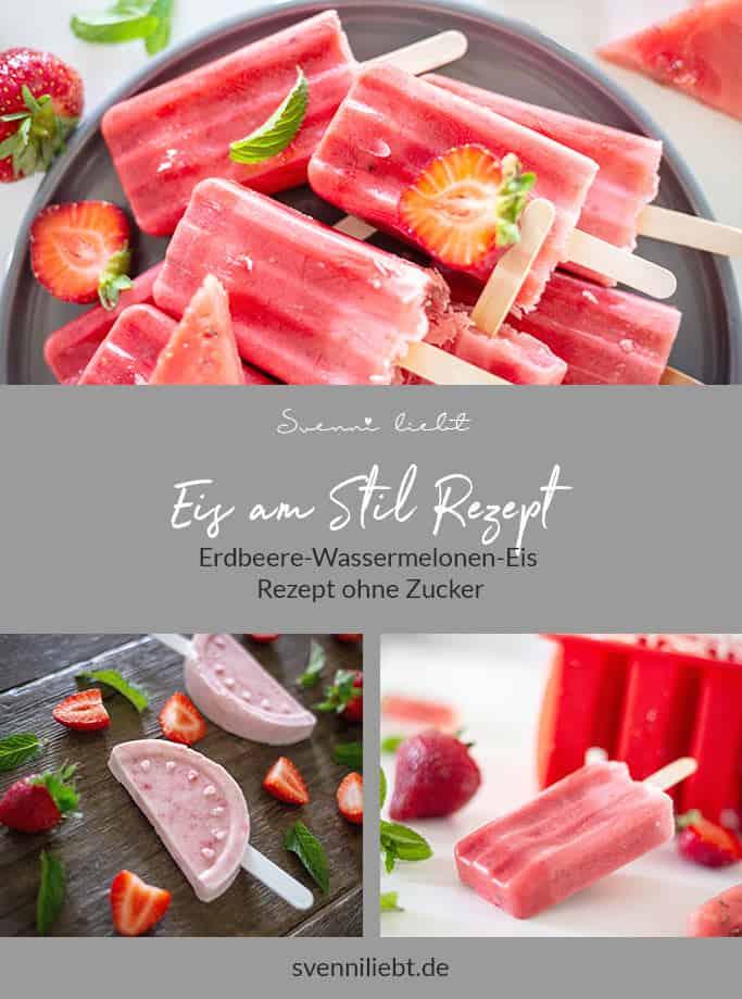 Merke dir das leckere Eis mit Erbeere und Wassermelone Rezept auf Pinterest