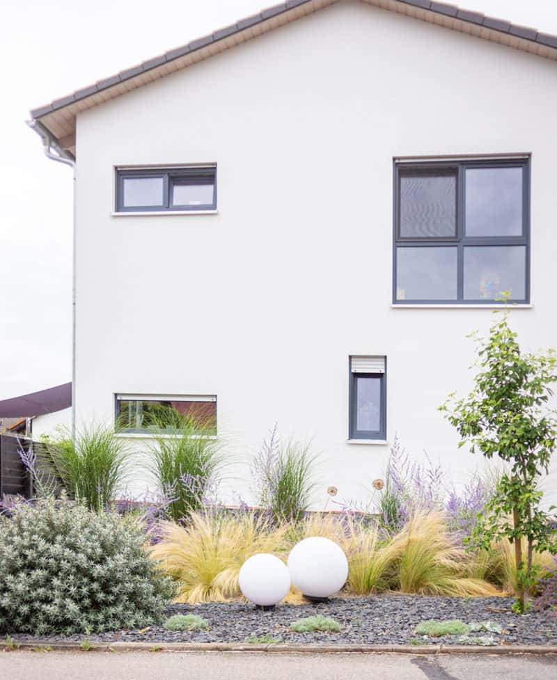 Vorgarten Gestaltung und Planzplan mit Gräsern, Eisenkraut, Blauraute in lila, grün und silber