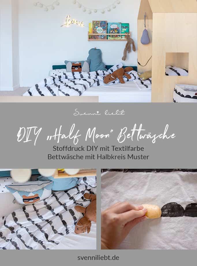 """Merke die dir Idee """"moderner Stoffdruck mit Textilfarbe für die Bettwäsche im Kinderzimmer"""" auf Pinterest"""