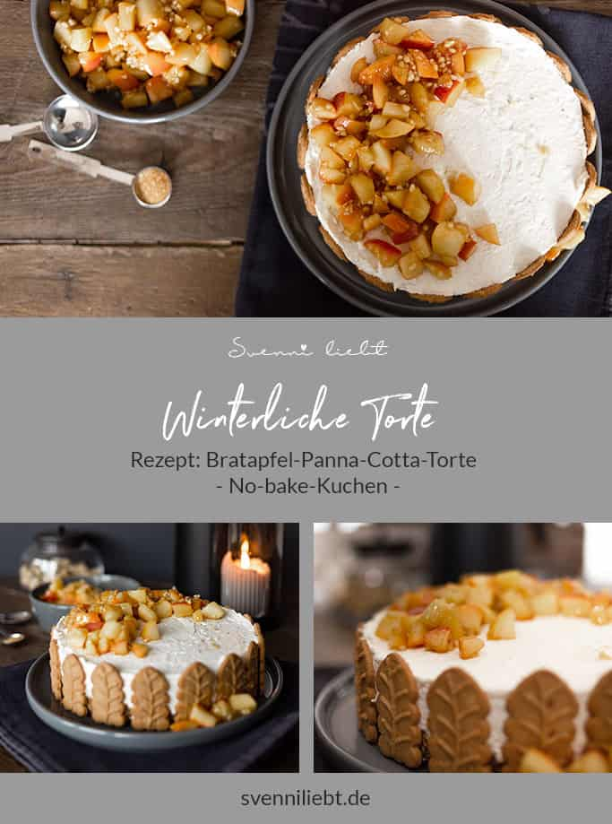 Merke dir das Rezept für die winterliche Bratapfel-Panna-Cotta-Torte auf Pinterest