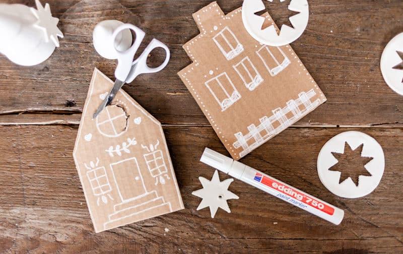 Weihnachtsdorf aus Pappe basteln
