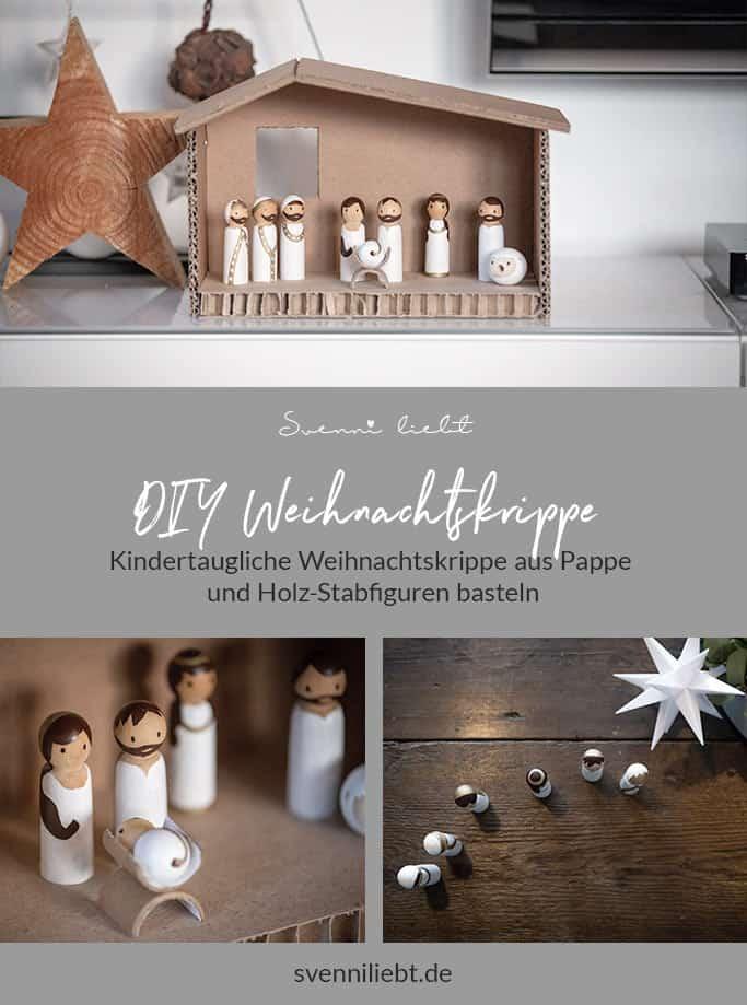 Merke dir die Idee für die DIY Weihnachtskrippe auf Pinterest