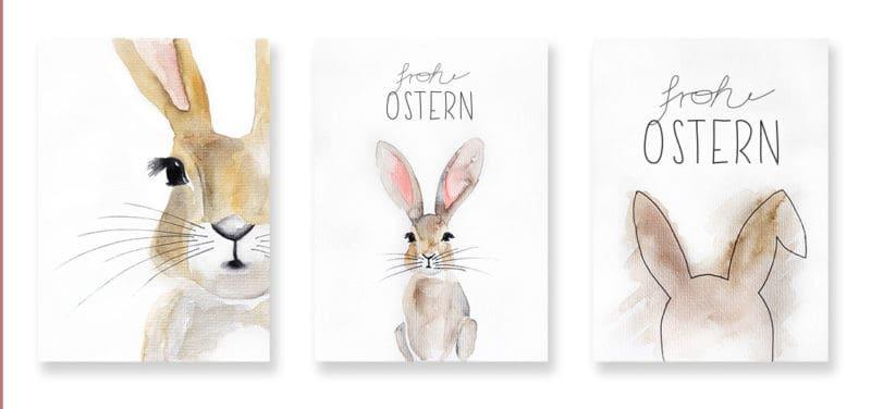 Osterkarte als Freebie: Watercolor Osterhase zum Ausdrucken