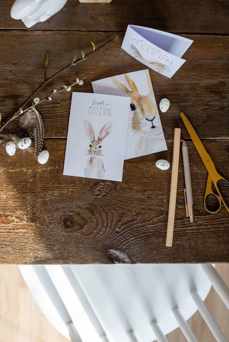 Osterkarte als Freebie – Aquarell-Osterhase als Printable