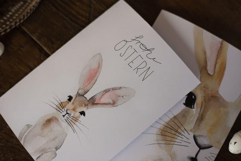 Osterkarte 2021 als Freebie: Watercolor Osterhase zum Ausdrucken