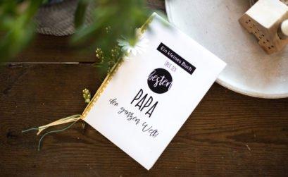 Geschenk zum Vatertag basteln - Freebie für ein personalisiertes Papa-Buch als Vatertagsgeschenk