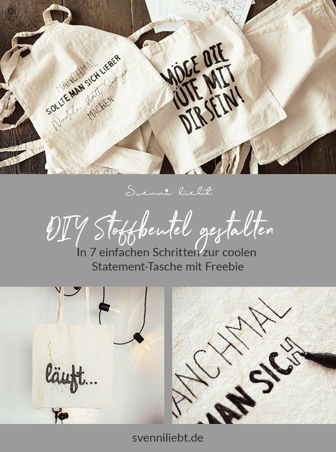 DIY Stofftasche mit Statement gestalten auf Pinterest merken