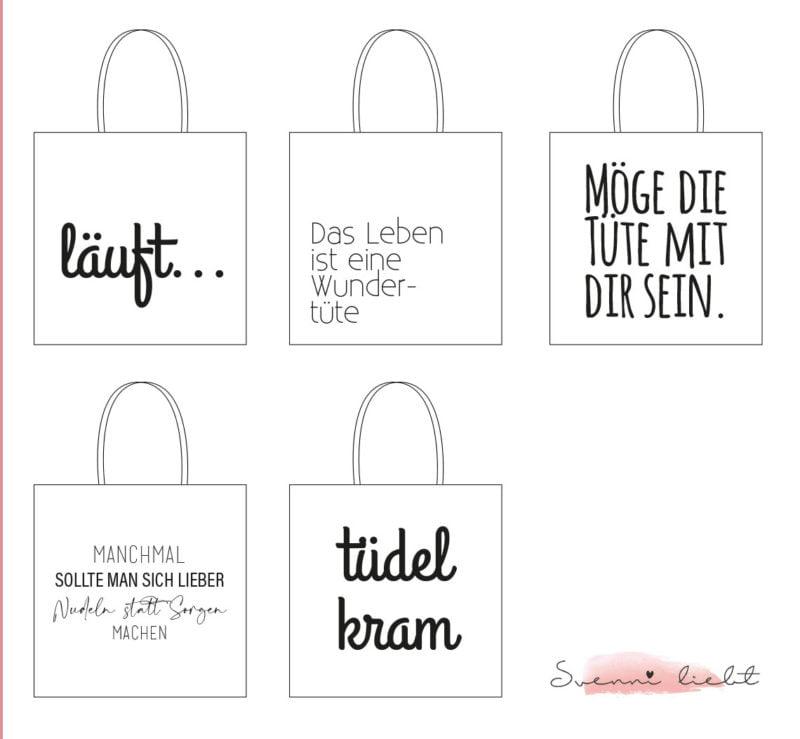 Freebie: Statement Schriftzüge für Jutetasche - DIY Jutebeutel malen