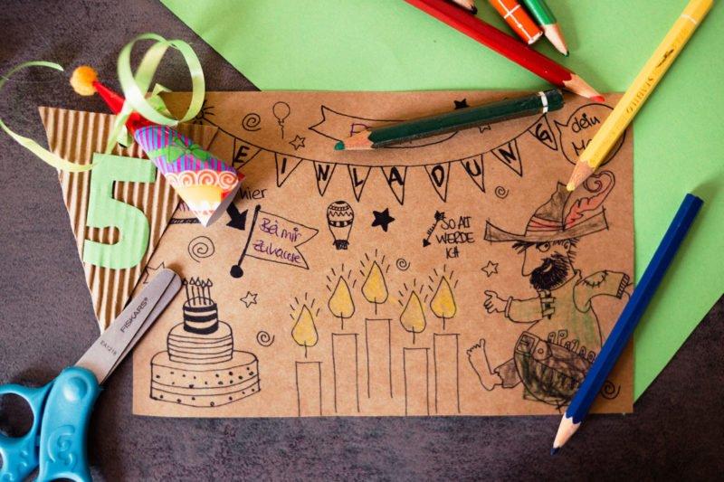 DIY Einladung für unsere Kindergeburtstagsparty ganz einfach malen und basteln